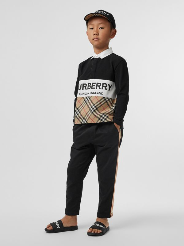 Icon Stripe Detail Cotton Chinos in Black | Burberry - cell image 2