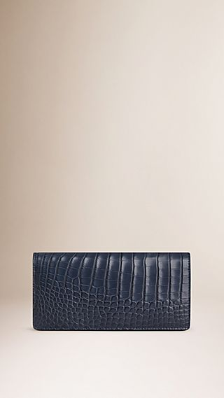 Portefeuille continental en cuir d'alligator