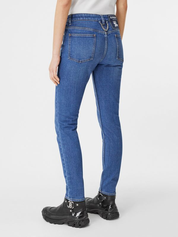 Straight Fit Japanese Stretch Denim Jeans in Indigo - Women | Burberry Hong Kong S.A.R - cell image 2