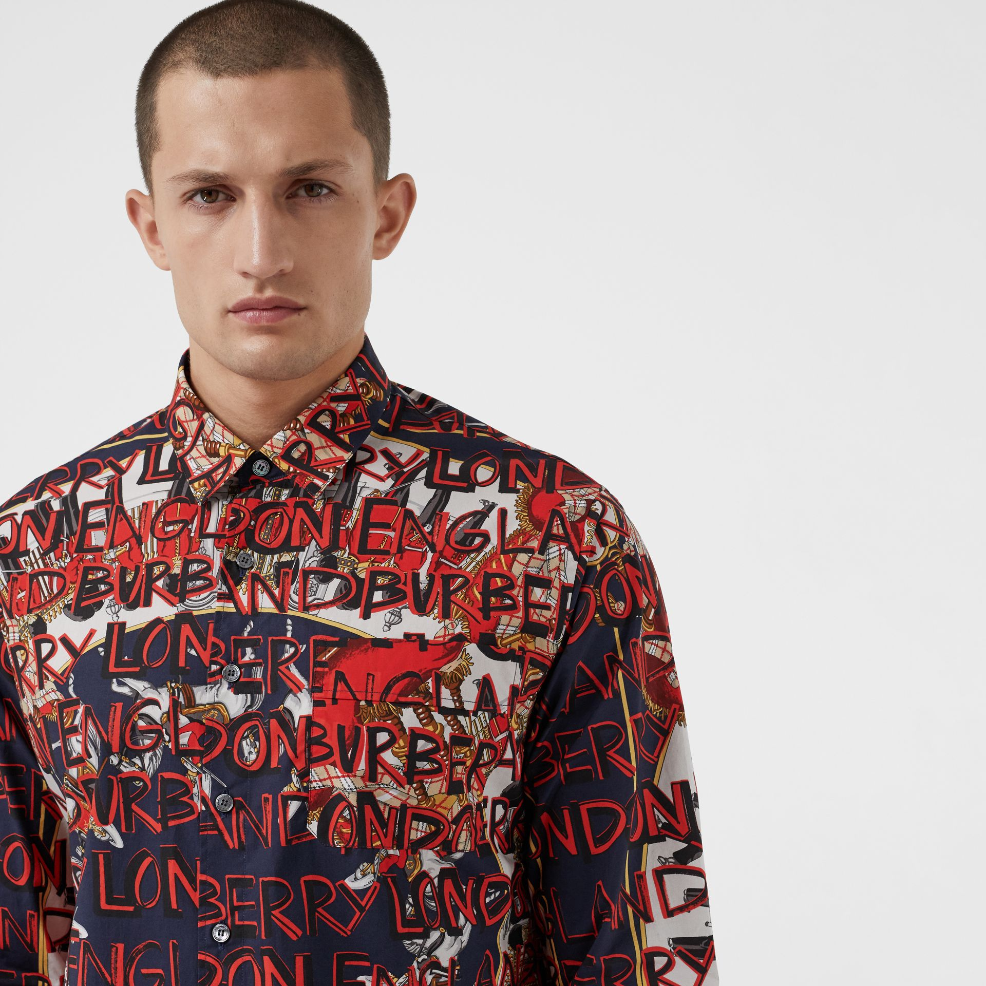 Graffiti Archive Scarf Print Cotton Shirt in Navy - Men | Burberry - gallery image 1