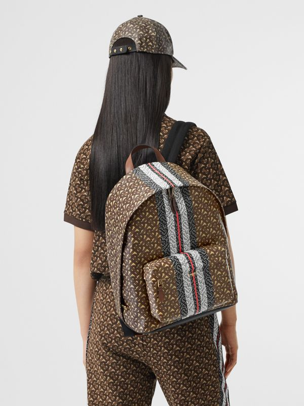 Monogram Stripe Print E-canvas Backpack in Bridle Brown | Burberry - cell image 2