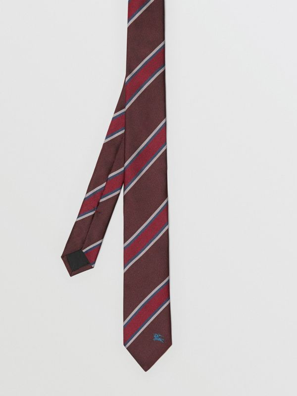 Slim Cut Striped Silk Jacquard Tie in Oxblood - Men | Burberry - cell image 3