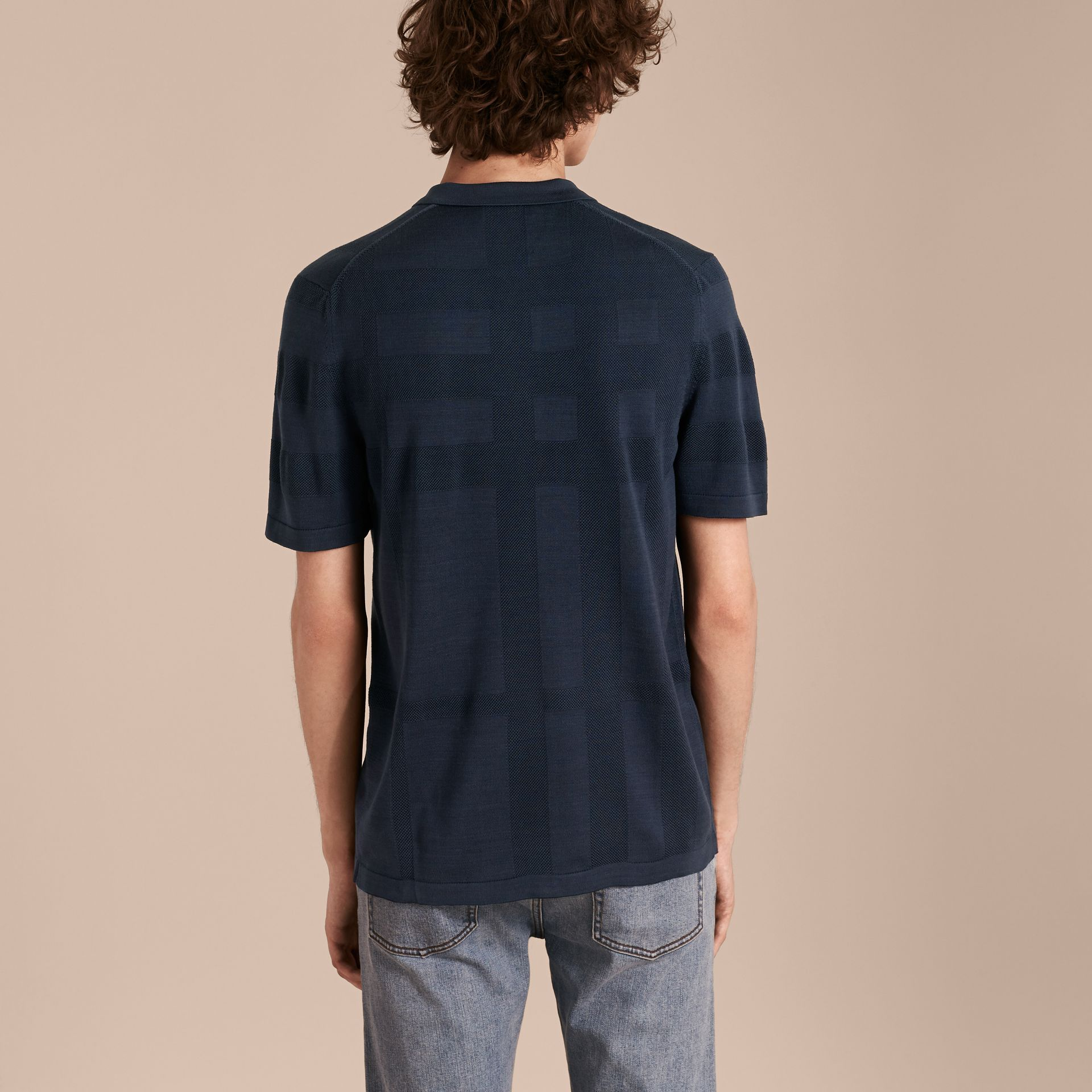 Check Jacquard Piqué Silk Cotton Polo Shirt in Navy - Men | Burberry Singapore - gallery image 3