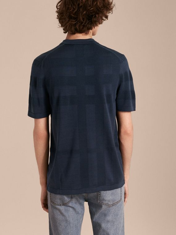 Check Jacquard Piqué Silk Cotton Polo Shirt in Navy - Men | Burberry - cell image 2
