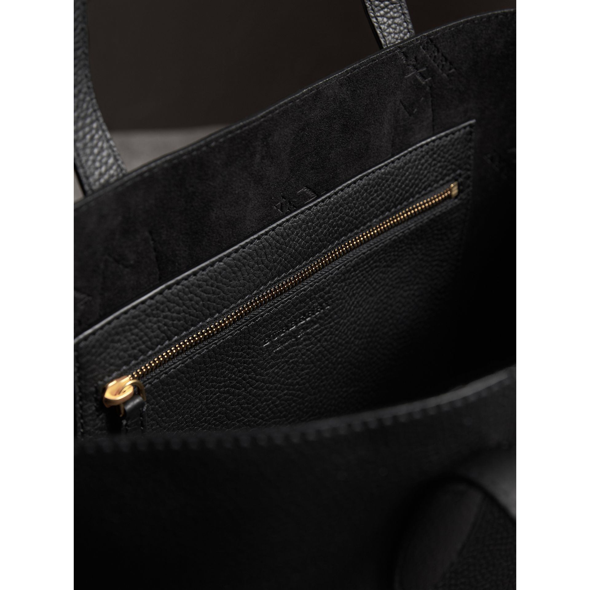 Medium Embossed Leather Tote in Black | Burberry - gallery image 5