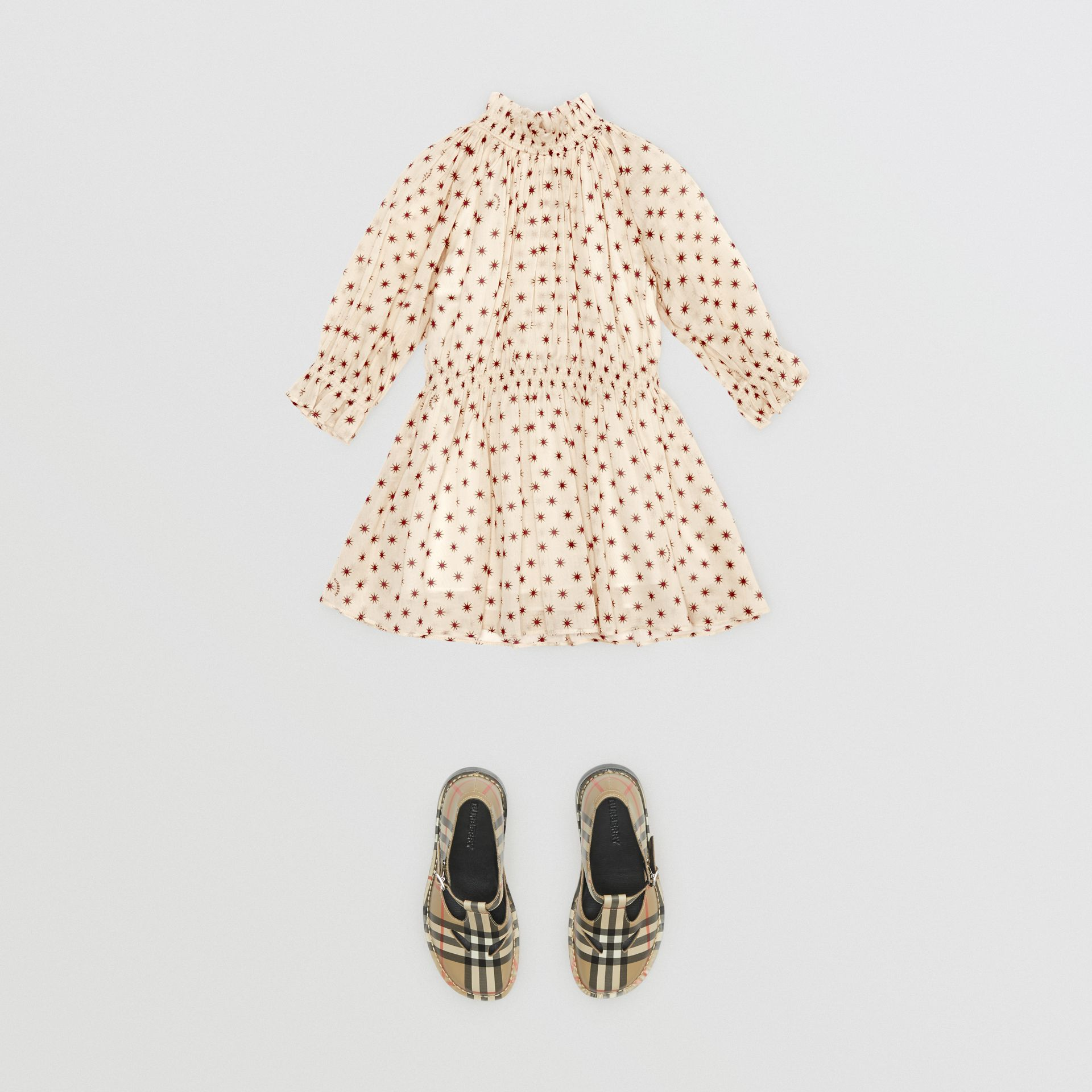 Star Print Gathered Cotton Dress in Military Red - Children | Burberry United Kingdom - gallery image 2