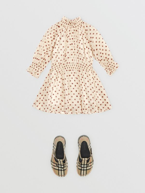 Star Print Gathered Cotton Dress in Military Red - Children | Burberry - cell image 2