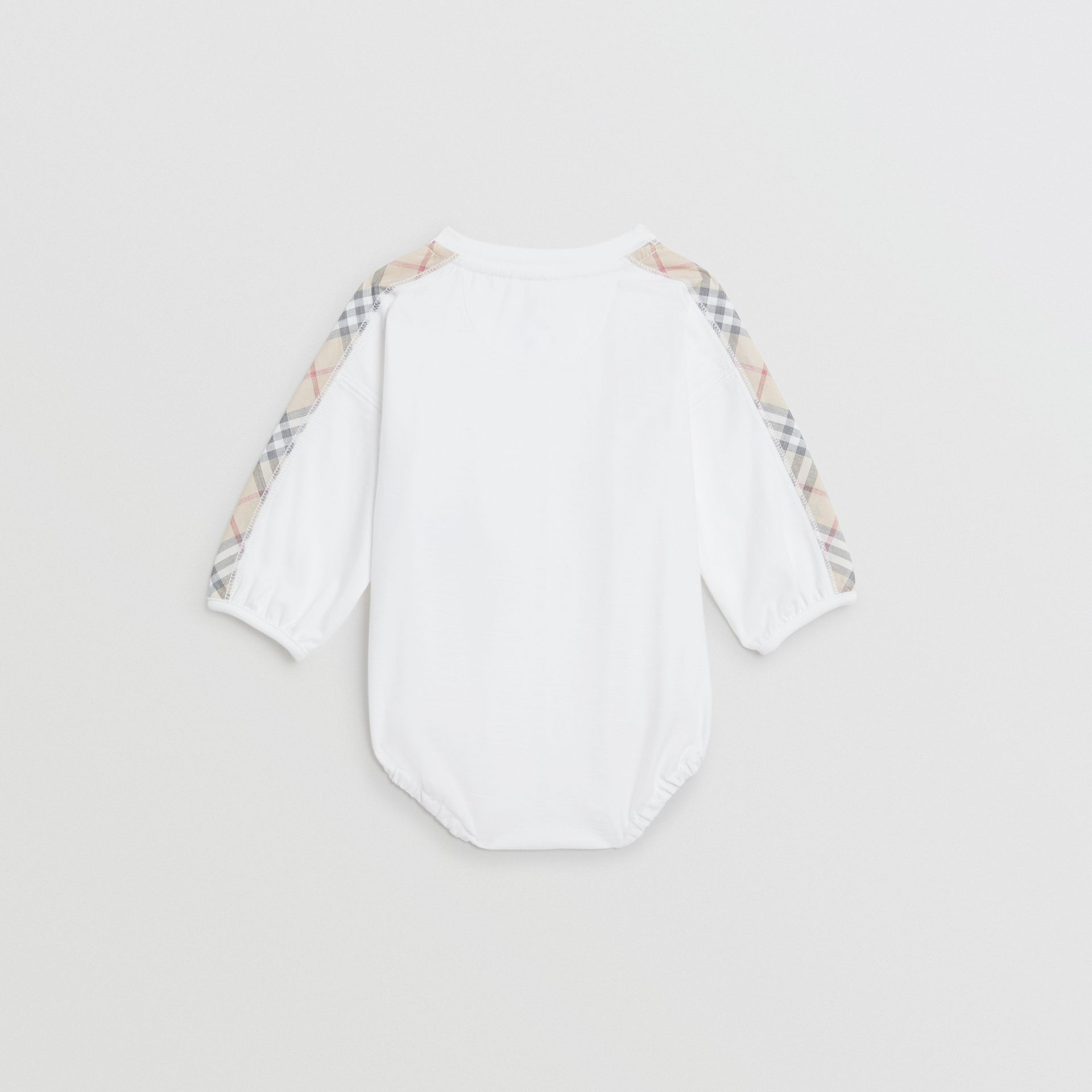 Check Cotton Three-piece Baby Gift Set in White - Children | Burberry United Kingdom - gallery image 3