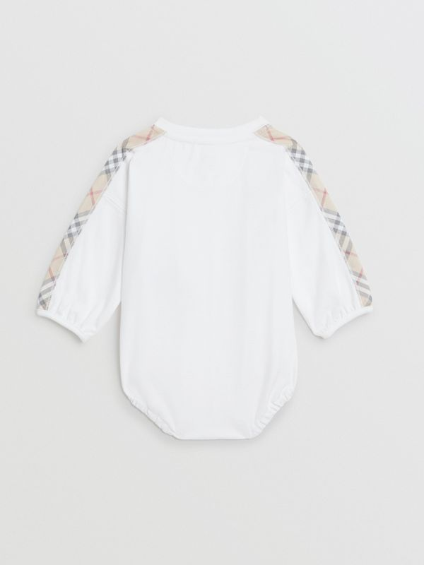 Check Cotton Three-piece Baby Gift Set in White - Children | Burberry - cell image 3