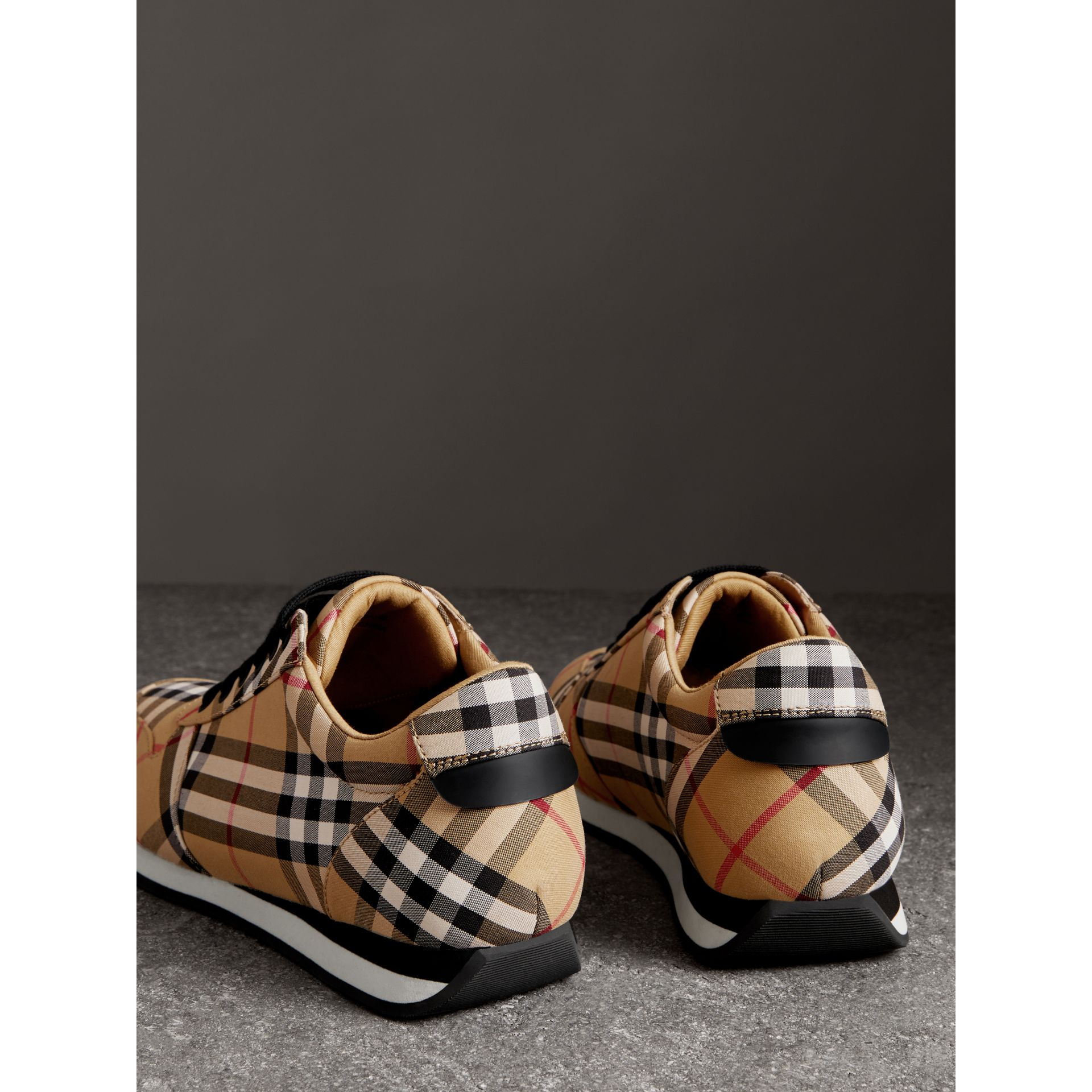 Vintage Check Cotton Sneakers in Antique Yellow - Women | Burberry Hong Kong - gallery image 3