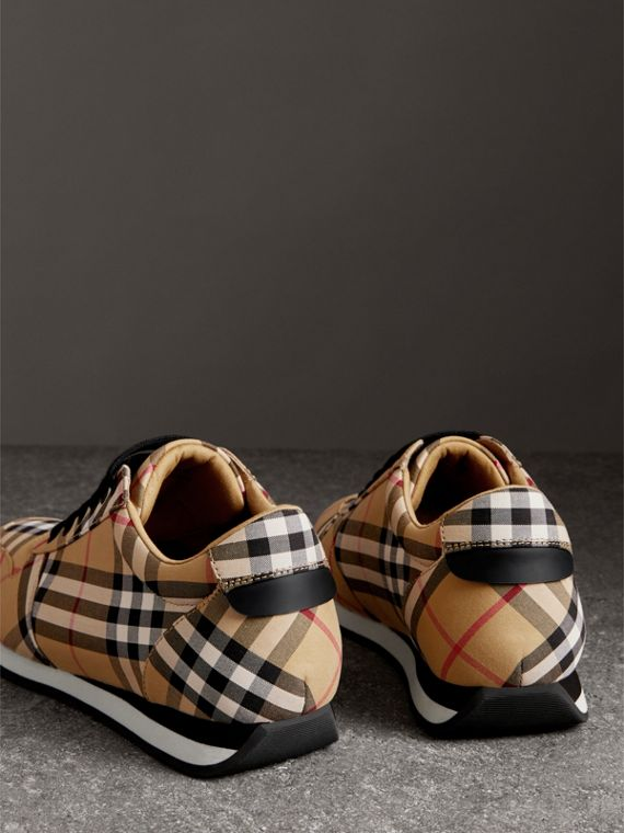 Vintage Check Cotton Sneakers in Antique Yellow - Women | Burberry United States - cell image 3