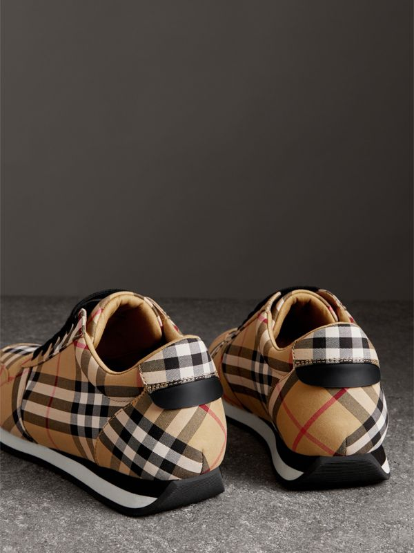 Vintage Check Cotton Sneakers in Antique Yellow - Women | Burberry United Kingdom - cell image 3