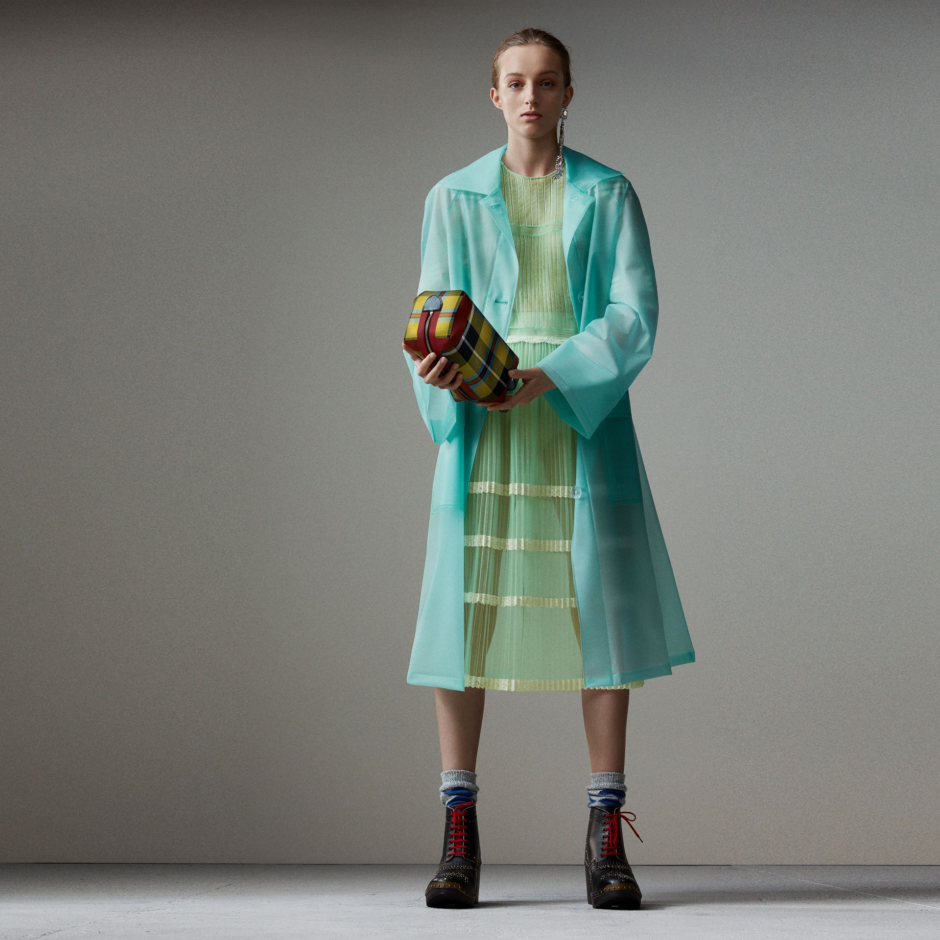 Soft-touch Plastic Car Coat in Turquoise - Women | Burberry Australia - gallery image 0