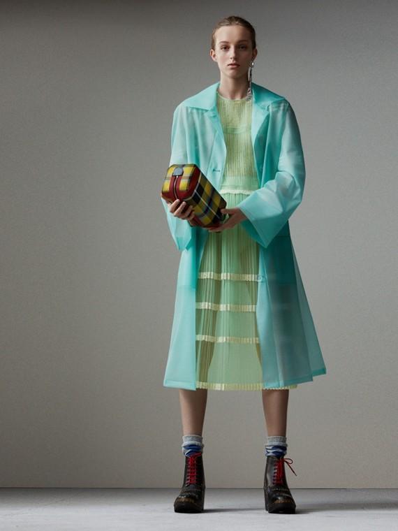 Укороченное пальто из мягкого полимерного материала (Бирюзовый)