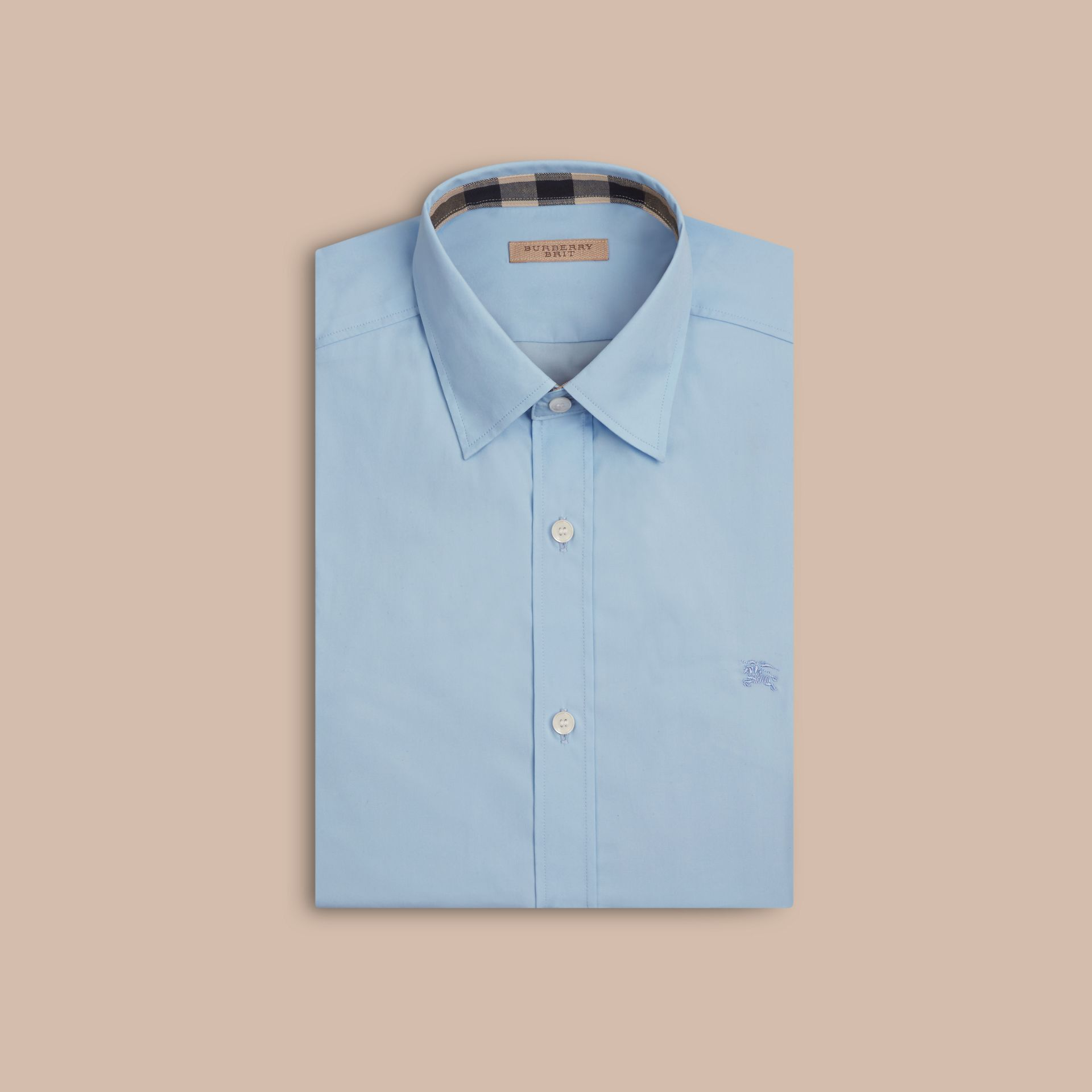 Check Detail Stretch Cotton Poplin Shirt Pale Blue - gallery image 4