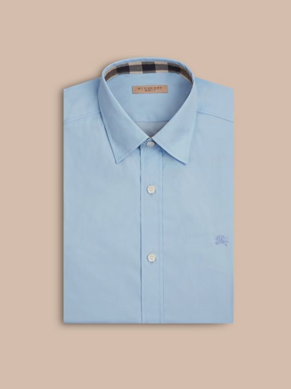 Check Detail Stretch Cotton Poplin Shirt in Pale Blue - cell image 3