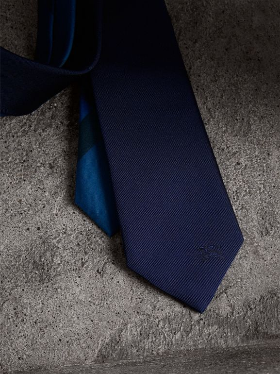 Slim Cut Check Silk Twill Tie in Navy - Men | Burberry United States - cell image 1
