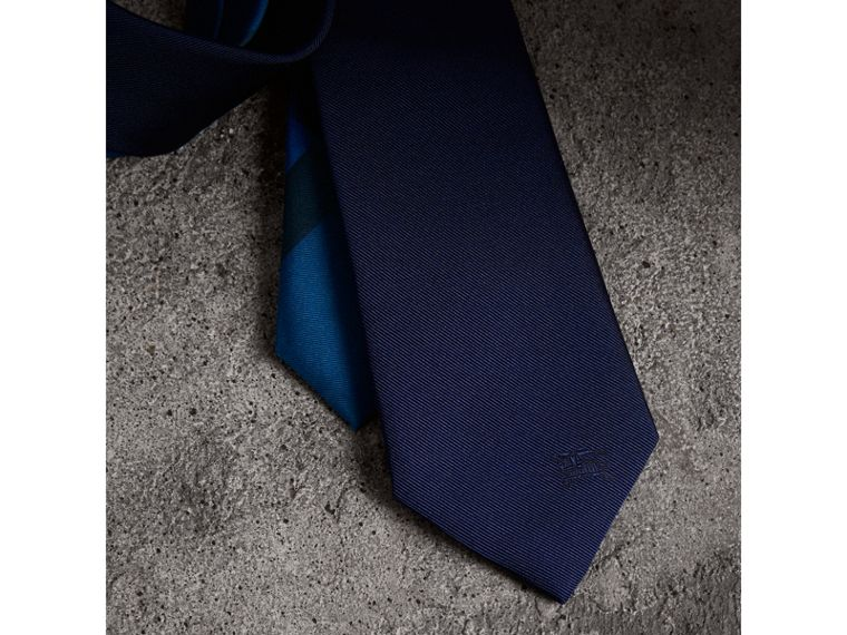 Slim Cut Check Silk Twill Tie in Navy - Men | Burberry United Kingdom - cell image 1