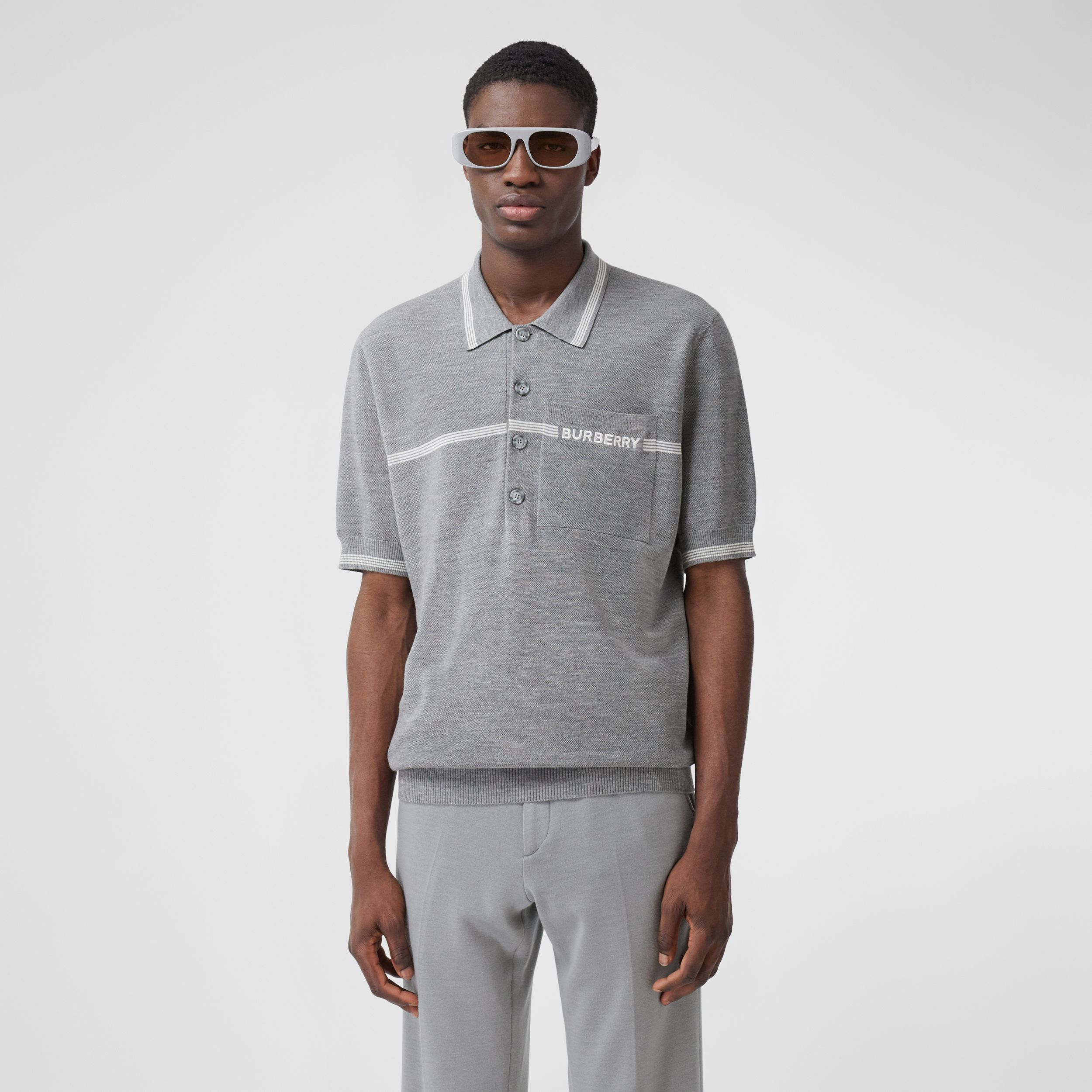 Stripe Detail Wool Polo Shirt in Light Pebble Grey | Burberry - 1