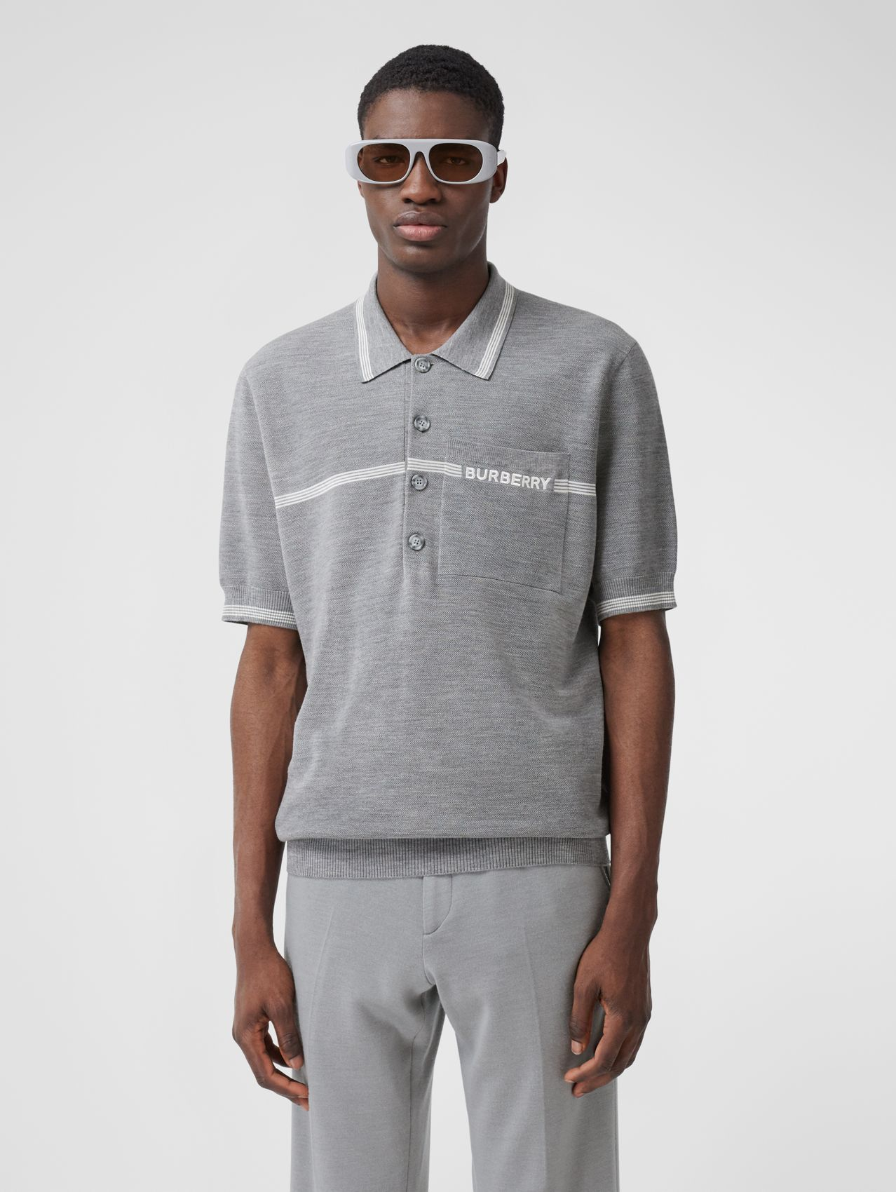 Stripe Detail Wool Polo Shirt in Light Pebble Grey