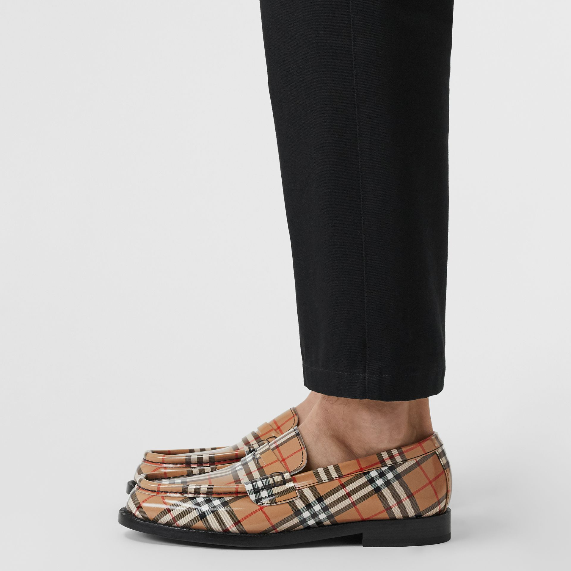 Gosha x Burberry Check Leather Loafers in Antique Yellow - Men | Burberry Australia - gallery image 2
