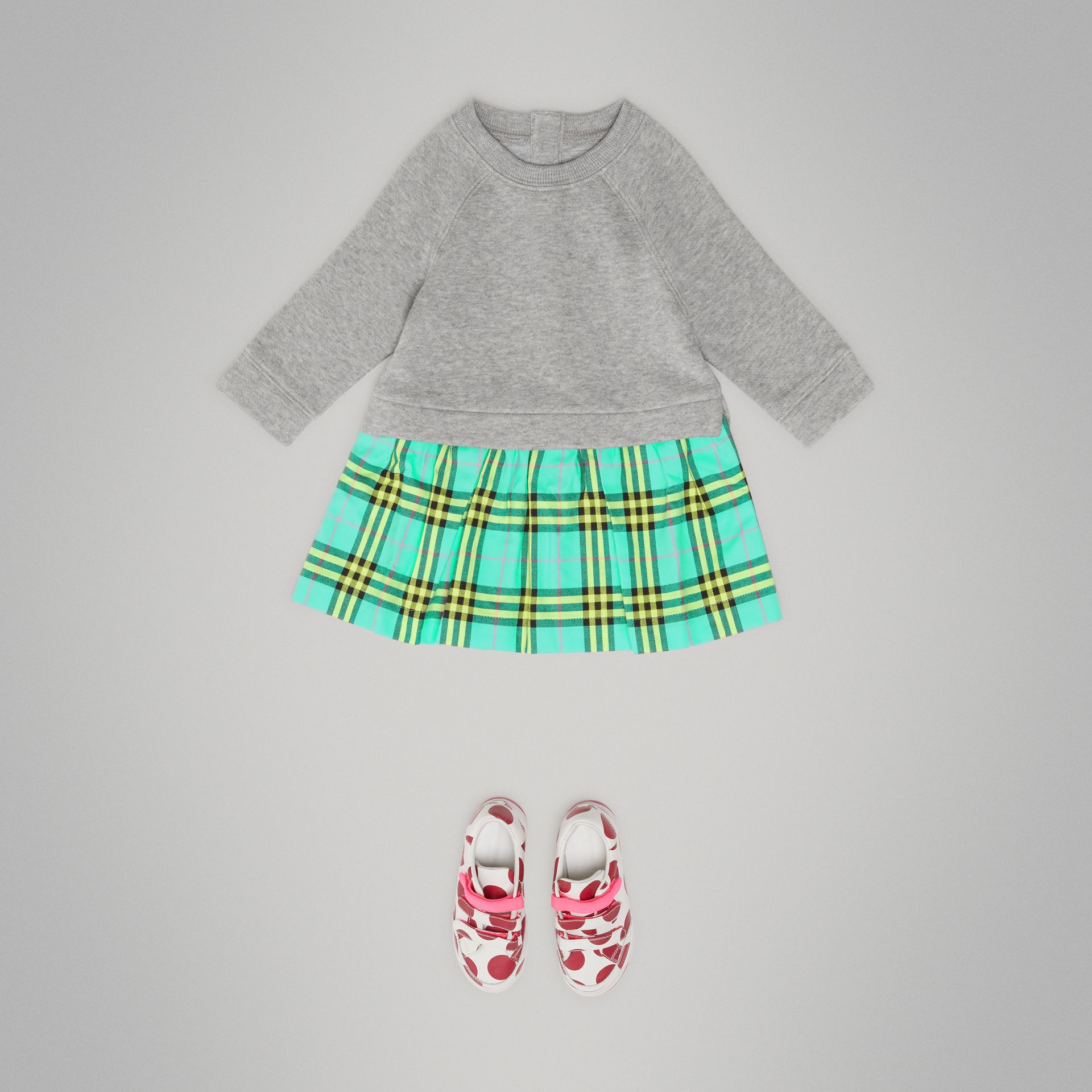Check Cotton Sweater Dress in Bright Turquoise - Children | Burberry - gallery image 2