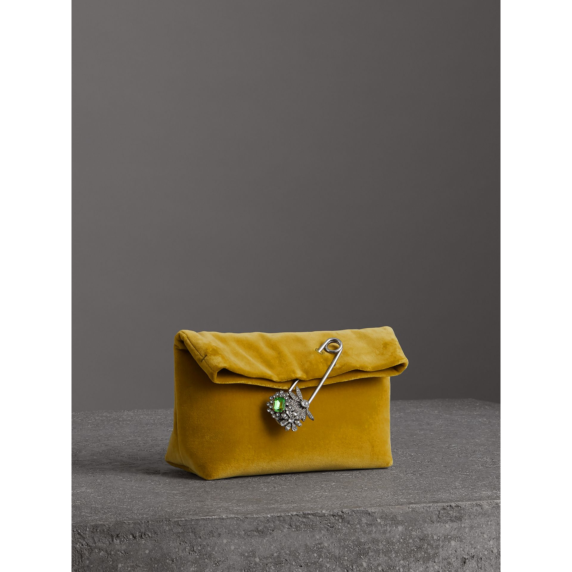 The Small Pin Clutch in Velvet in Larch Yellow - Women | Burberry United Kingdom - gallery image 6