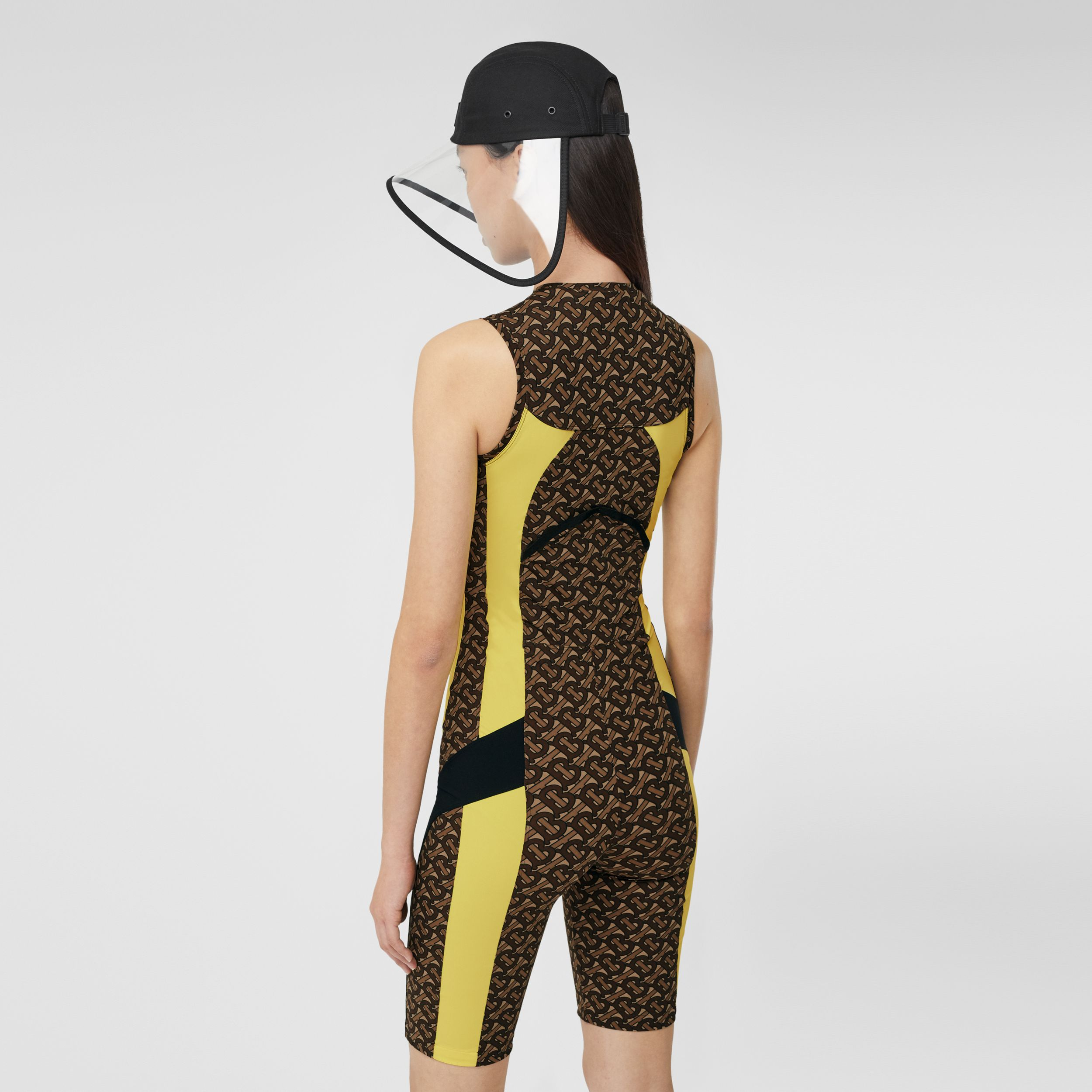 Colour Block Monogram Print Unitard in Bridle Brown - Women | Burberry - 3