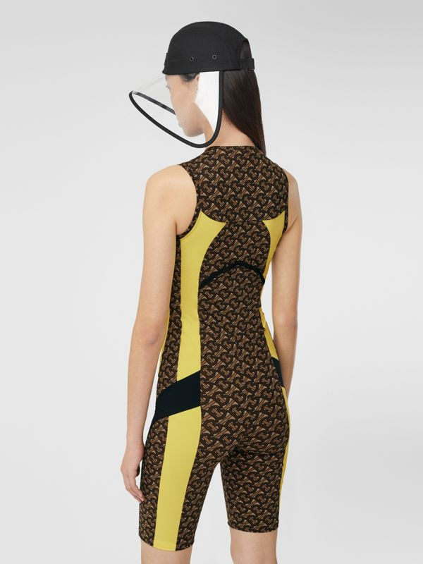Colour Block Monogram Print Unitard in Bridle Brown - Women | Burberry United Kingdom - cell image 2