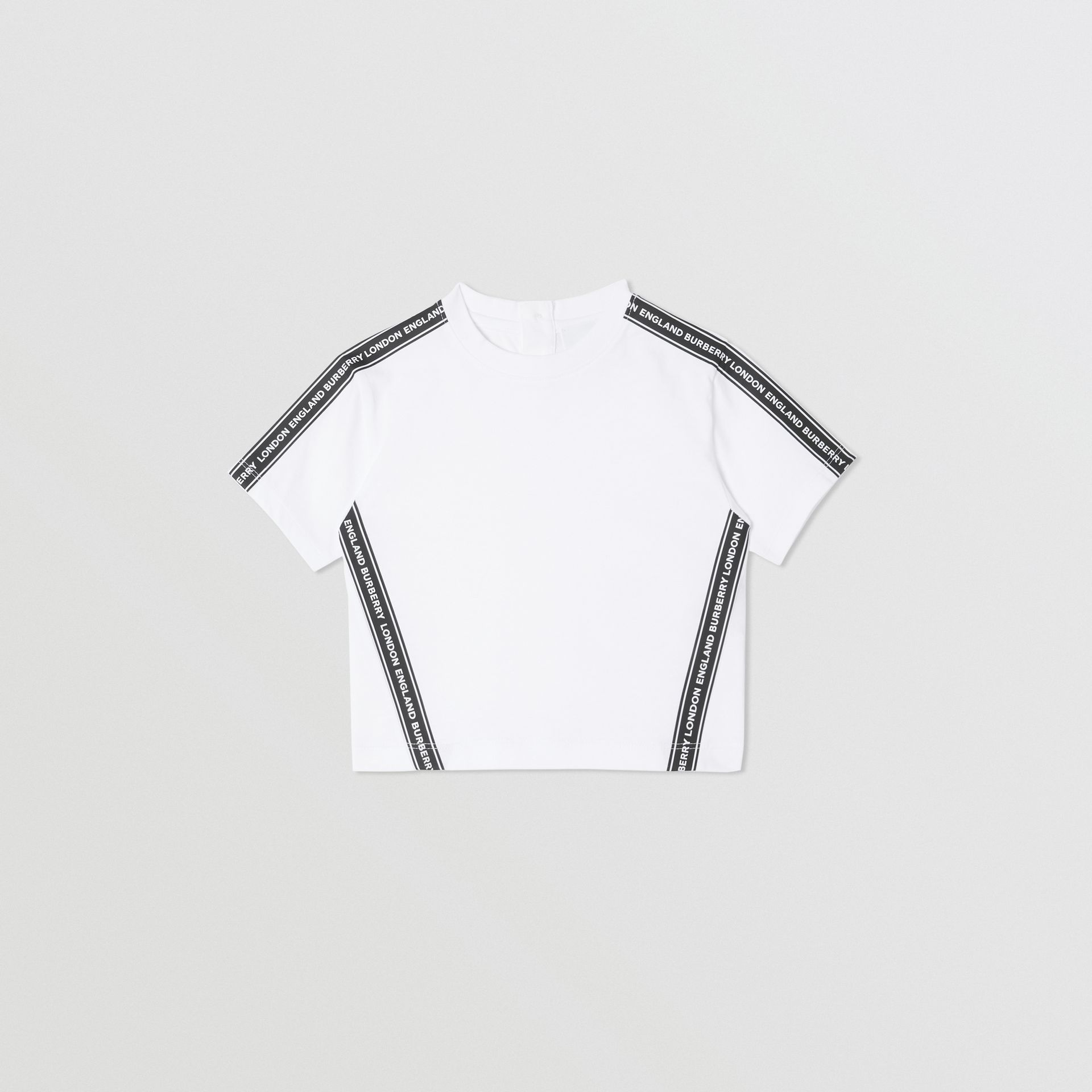 Logo Tape Cotton T-shirt in White - Children | Burberry - gallery image 0