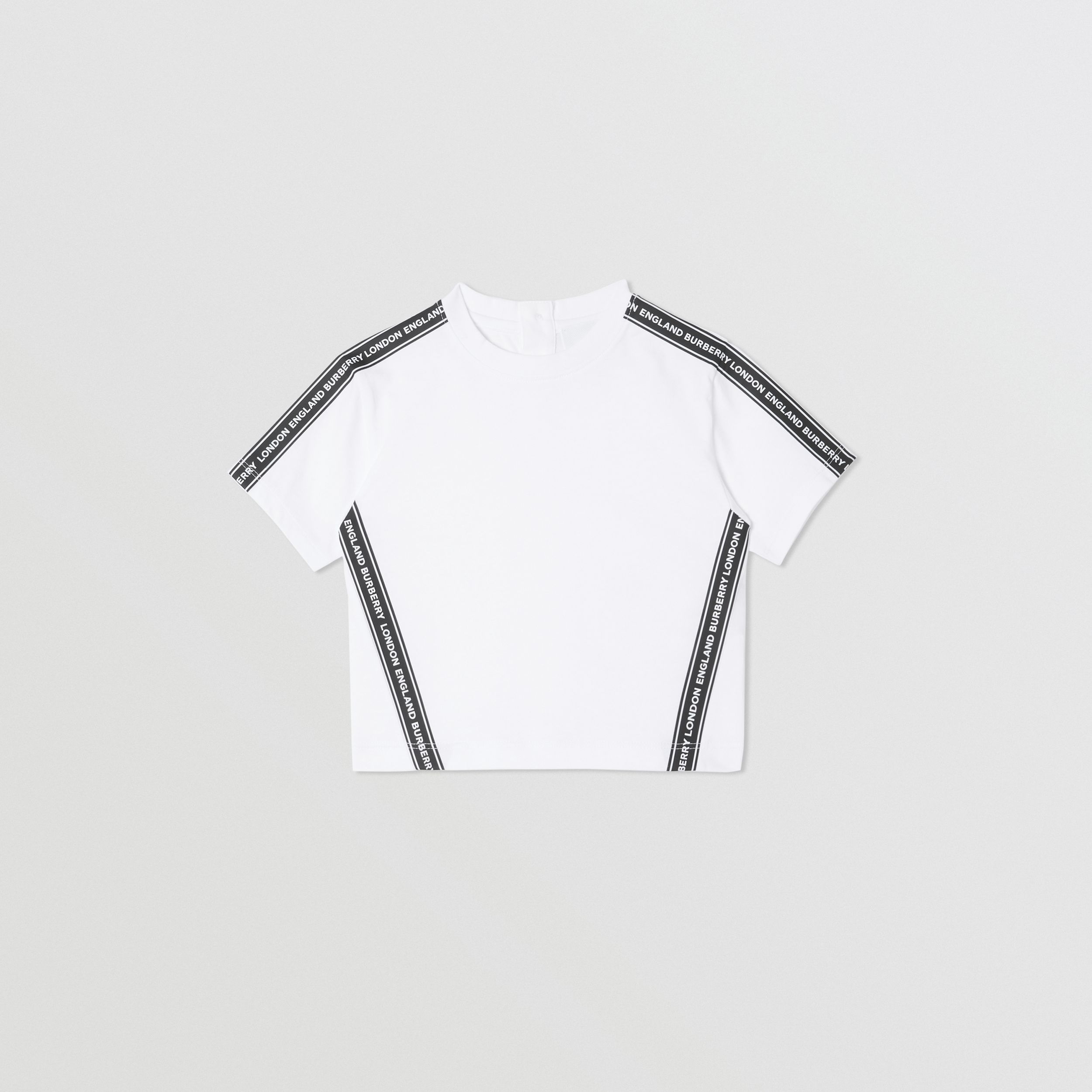 Logo Tape Cotton T-shirt in White - Children | Burberry Canada - 1