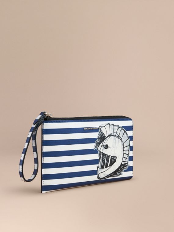 Striped London Leather Travel Wallet with Pallas Helmet Motif