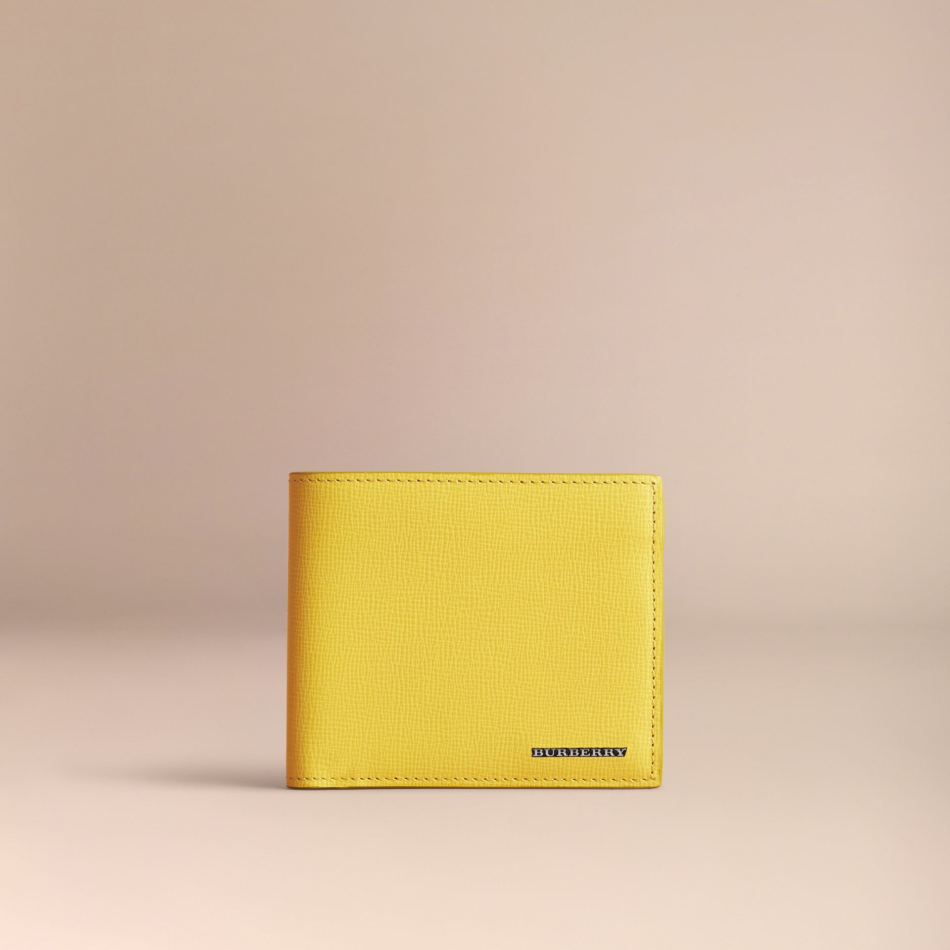 London Leather Folding Wallet in Bright Citrus | Burberry Australia - gallery image 2