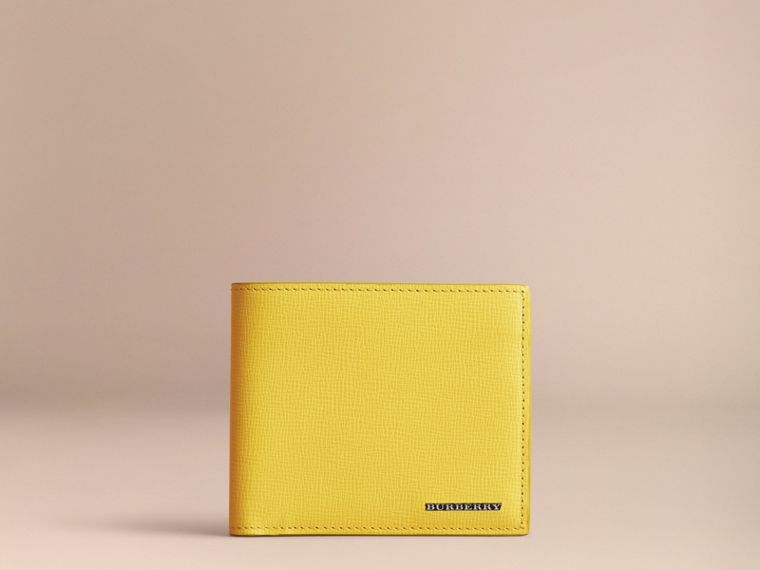 London Leather Folding Wallet in Bright Citrus | Burberry Australia - cell image 1