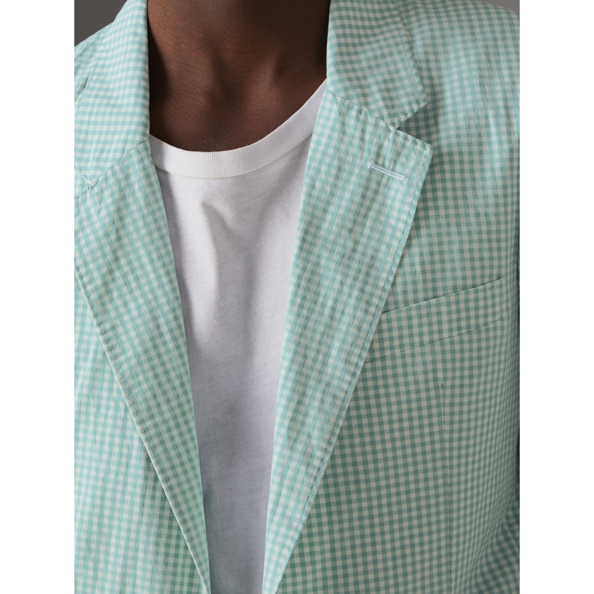 Slim Fit Gingham Cotton Tailored Jacket in Pale Opal - Men | Burberry - gallery image 1