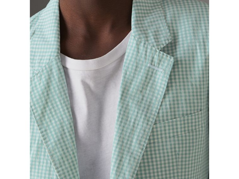 Slim Fit Gingham Cotton Tailored Jacket in Pale Opal - Men | Burberry - cell image 1