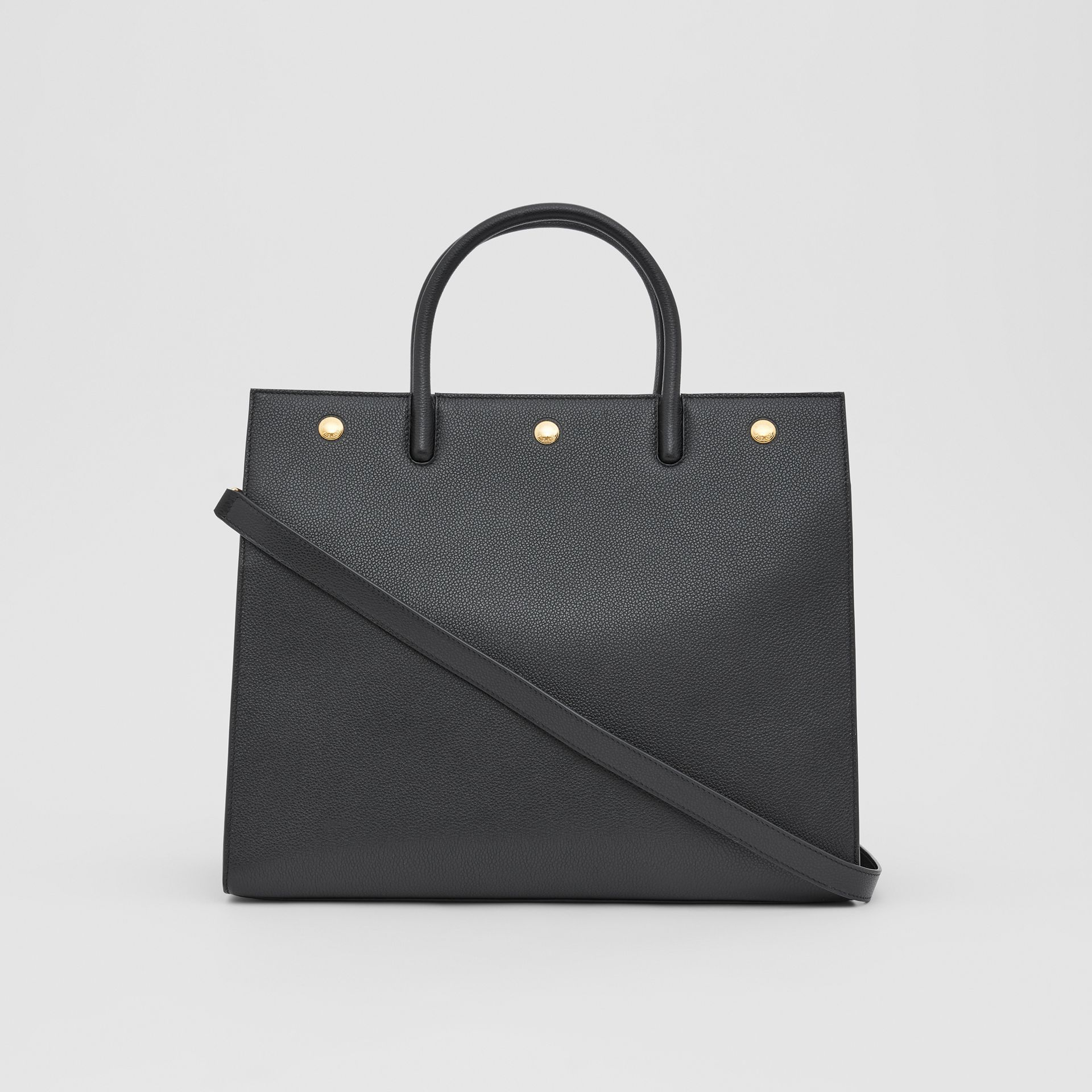 Medium Leather Two-handle Title Bag in Black - Women | Burberry - gallery image 7