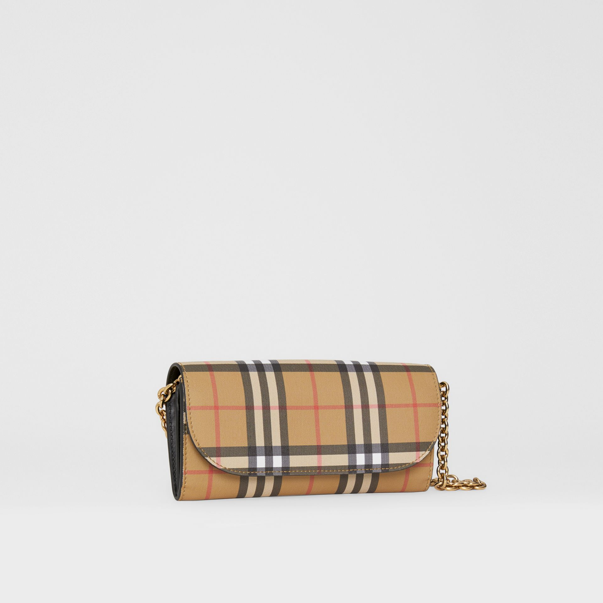 Vintage Check and Leather Wallet with Chain in Black - Women | Burberry Australia - gallery image 6