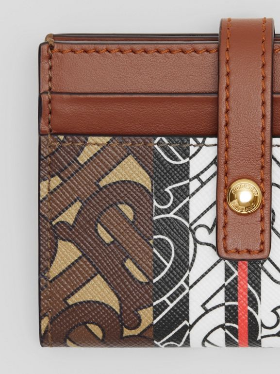 Monogram Stripe E-canvas Folding Card Case in Bridle Brown - Women | Burberry Australia - cell image 1