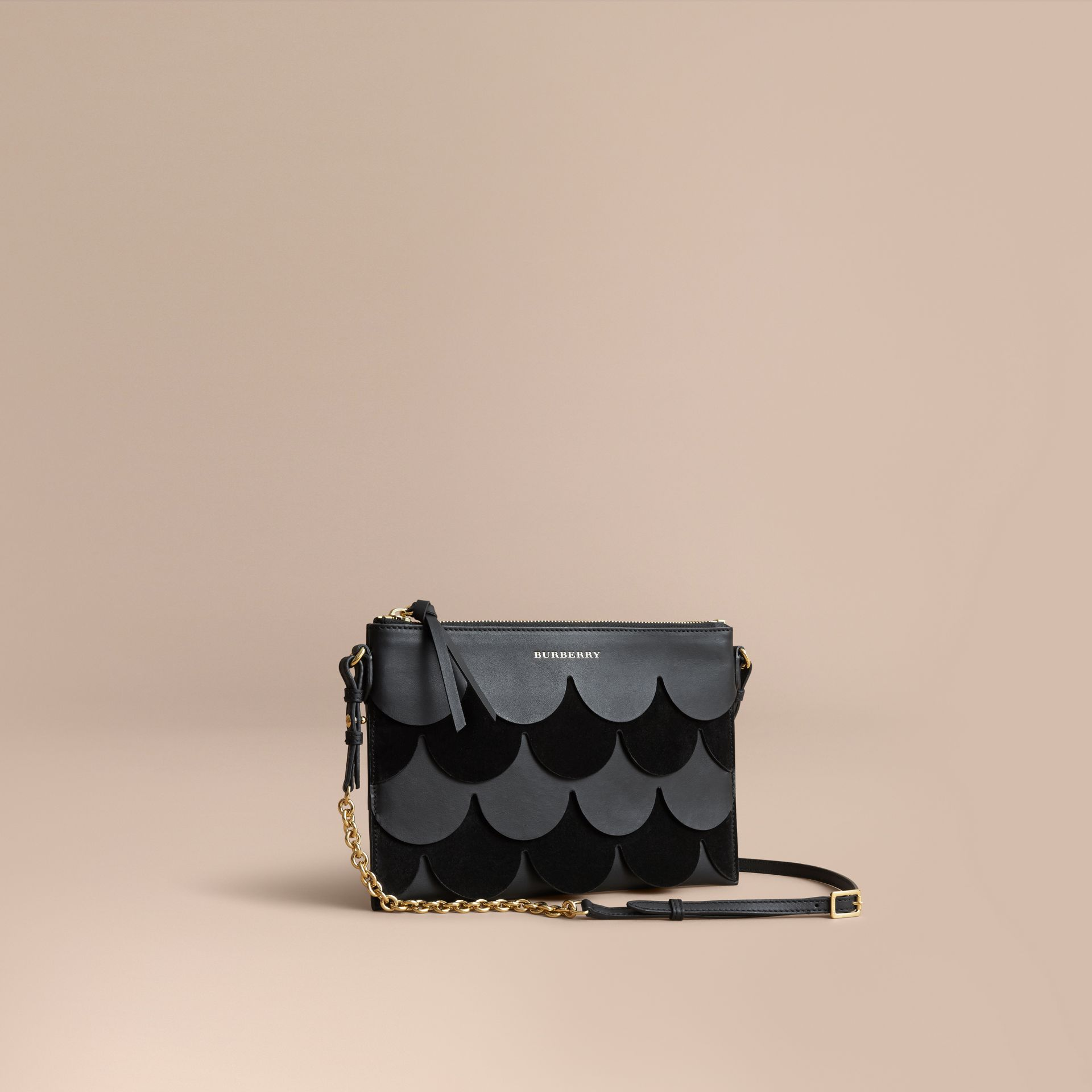 Two-tone Scalloped Leather and Suede Clutch Bag in Black - Women | Burberry - gallery image 1