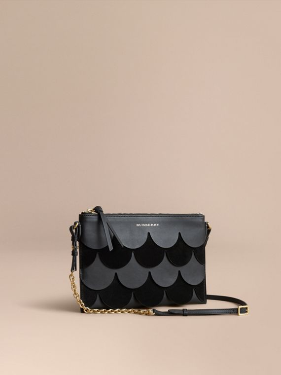 Two-tone Scalloped Leather and Suede Clutch Bag in Black