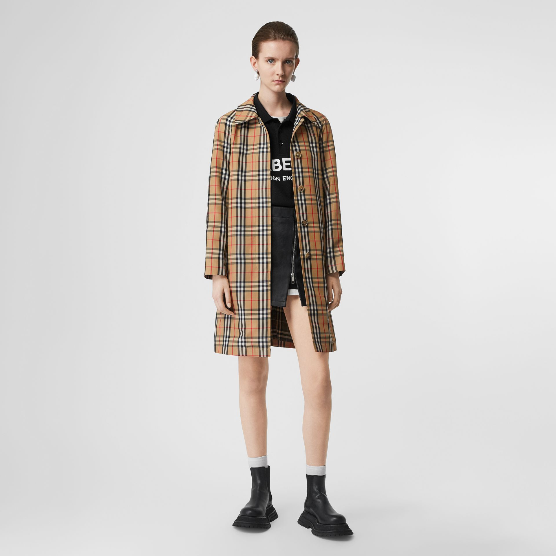 Vintage Check Nylon Belted Car Coat in Archive Beige - Women | Burberry - gallery image 0