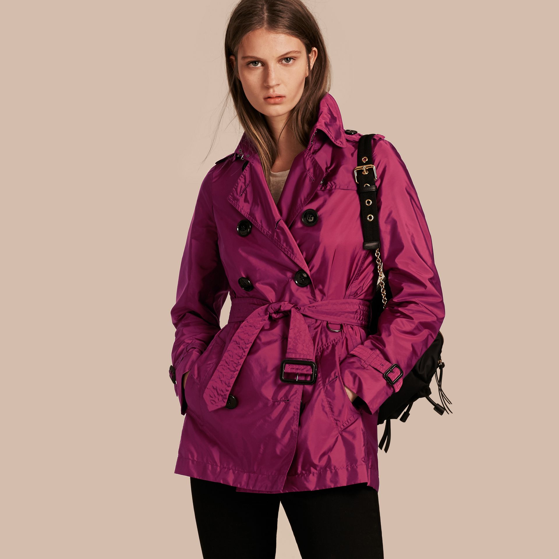 Lightweight Trench Coat in Berry Pink - gallery image 1