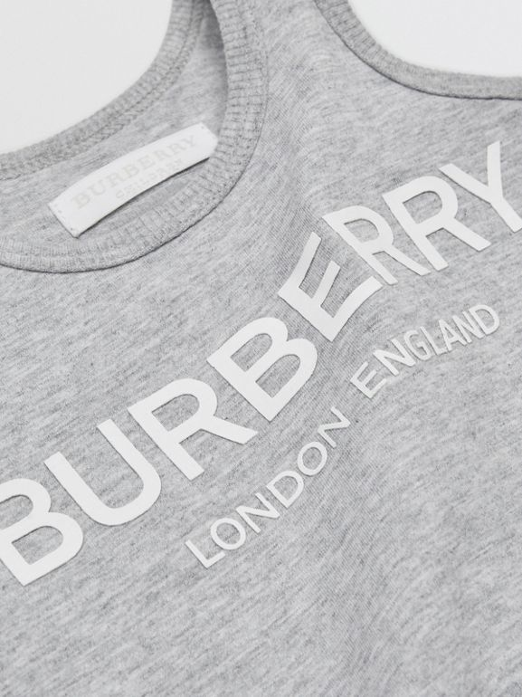 Logo Print Cotton Three-piece Baby Gift Set in Grey - Children | Burberry - cell image 1