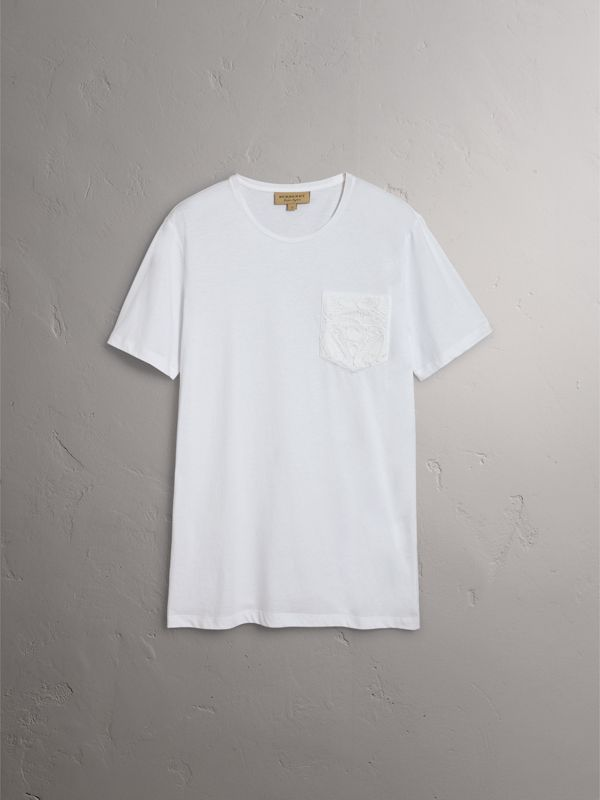 Rope Embroidered Pocket Cotton T-shirt in White - Men | Burberry - cell image 3