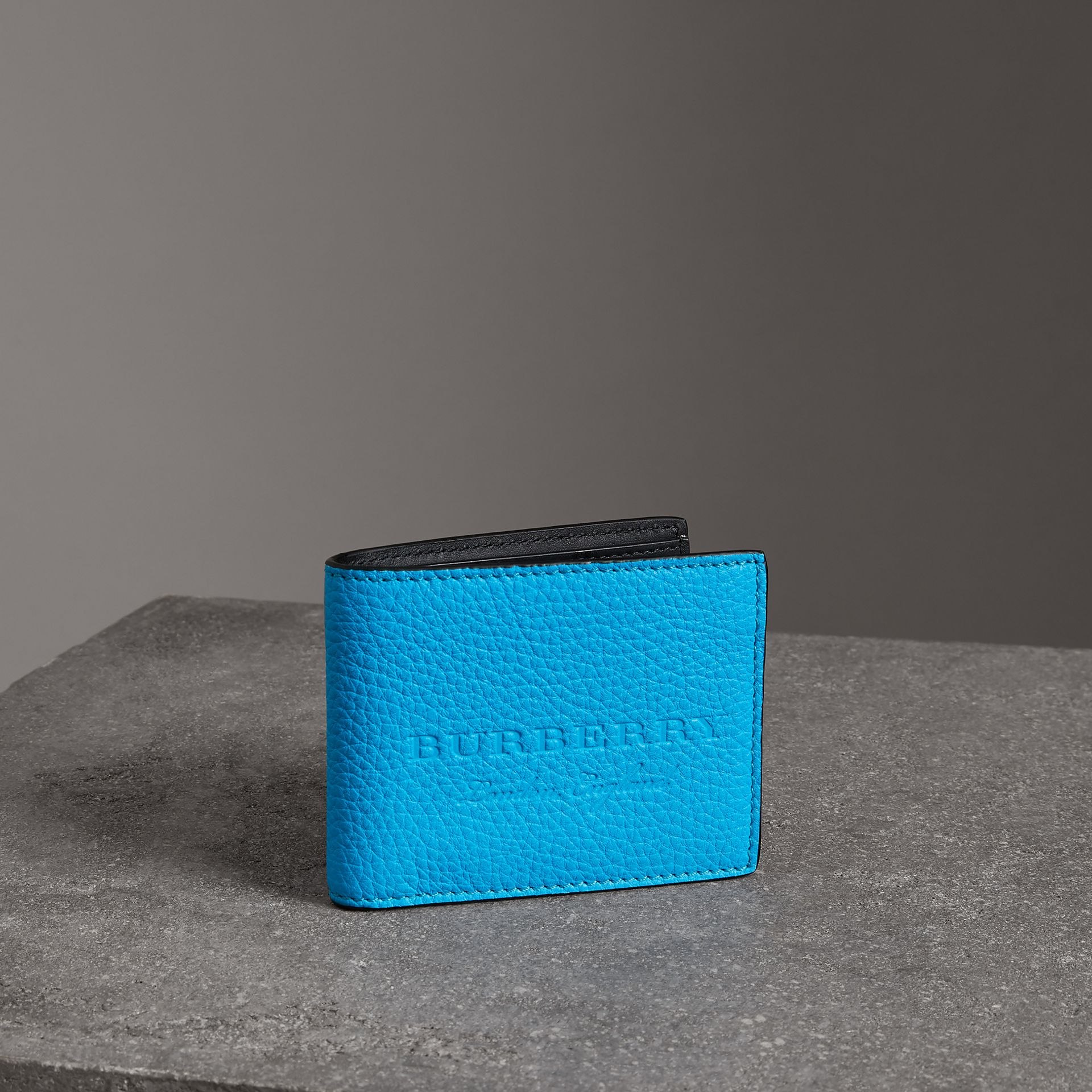 Embossed Leather Bifold Wallet in Neon Blue - Men | Burberry United States - gallery image 0