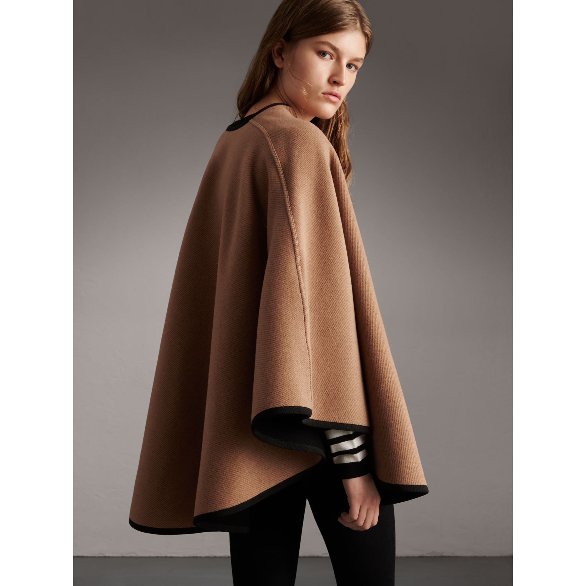 Wool Cashmere Military Cape in Camel/black - Women | Burberry Singapore - gallery image 3