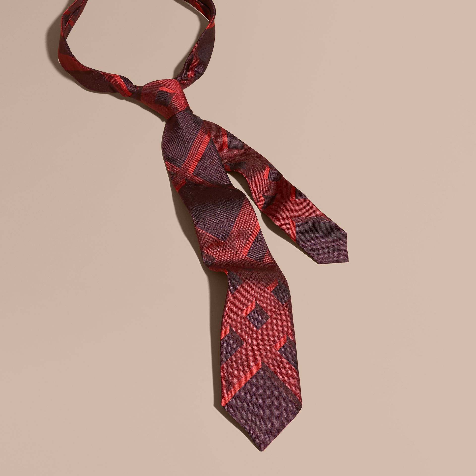Military red Modern Cut Check Jacquard Silk Tie Military Red - gallery image 1