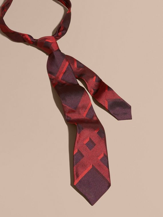 Modern Cut Check Jacquard Silk Tie Military Red