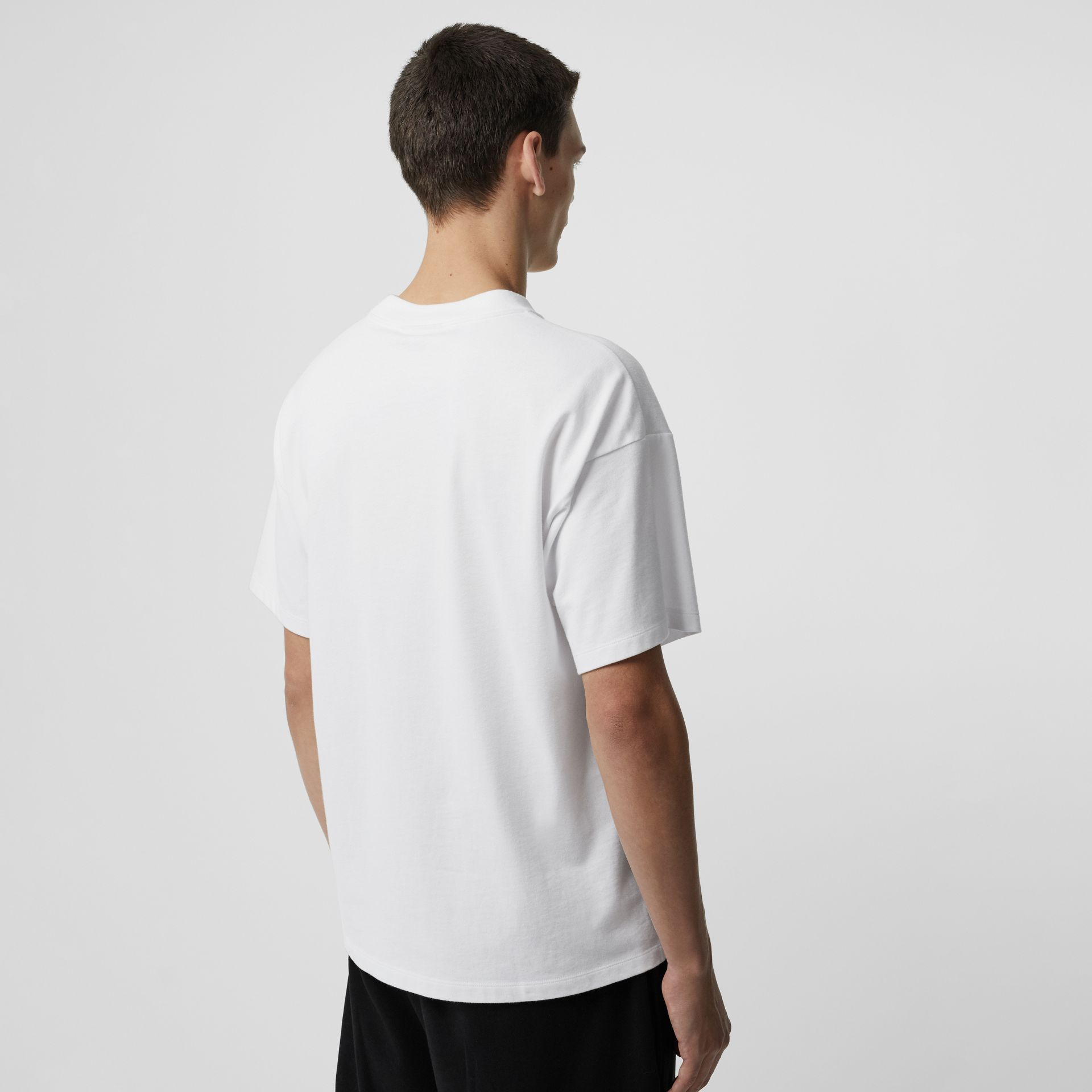 Chequer EKD Cotton T-shirt in White - Men | Burberry - gallery image 2